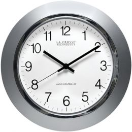 "La Crosse Technology 14"" Silver & Chrome Atomic Wall Clock LCRWT3144S"
