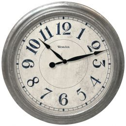 "Westclox 15.5"" Round Galvanized Finish Gray Wall Clock NYL32931"