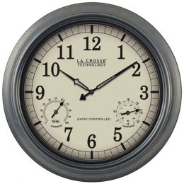 "La Crosse Technology Indoor And Outdoor 18"" Atomic Wall Clock With Thermometer Hygrometer LCRWT3181P"