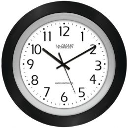 La Crosse Technology(R) 404-1225 10 Black & Silver Atomic Wall Clock