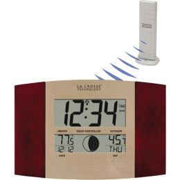 La Crosse Technology(R) WS-8117U-IT-C Digital Atomic Wall Clock (Indoor/Outdoor Temperature; Cherry Wood Finish)