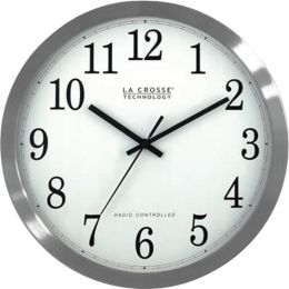 La Crosse Technology(R) WT-3126B 12 Stainless Steel Atomic Wall Clock
