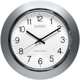 La Crosse Technology(R) WT-3144S 14 Silver & Chrome Atomic Wall Clock
