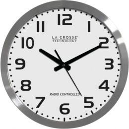La Crosse Technology(R) WT-3161WH 16 Brushed-Metal Atomic Wall Clock