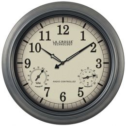 La Crosse Technology(R) WT-3181P Indoor/Outdoor 18 Atomic Wall Clock with Thermometer Hygrometer