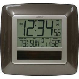 La Crosse Technology(R) WT-8112U Solar Atomic Digital Wall Clock with Indoor Temperature (Bronze)